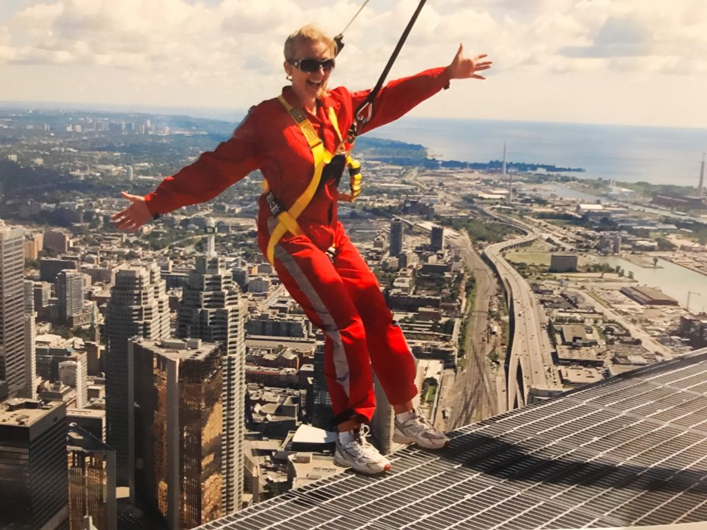 on the edgewalk overlooking Toronto