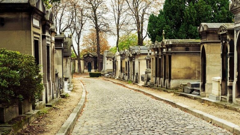 a street of tombs at Pere Lachaise cemetery