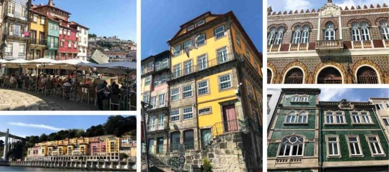 collage of building facades in Porto