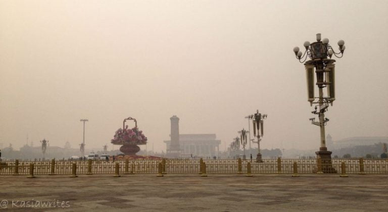 Tiananmen Square on a smoggy day