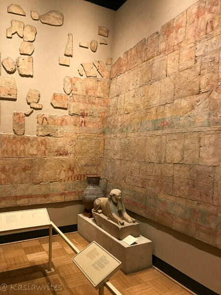 Egyptian tablets and statue display