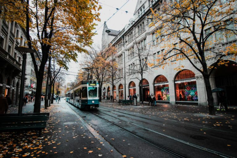 street car in european city