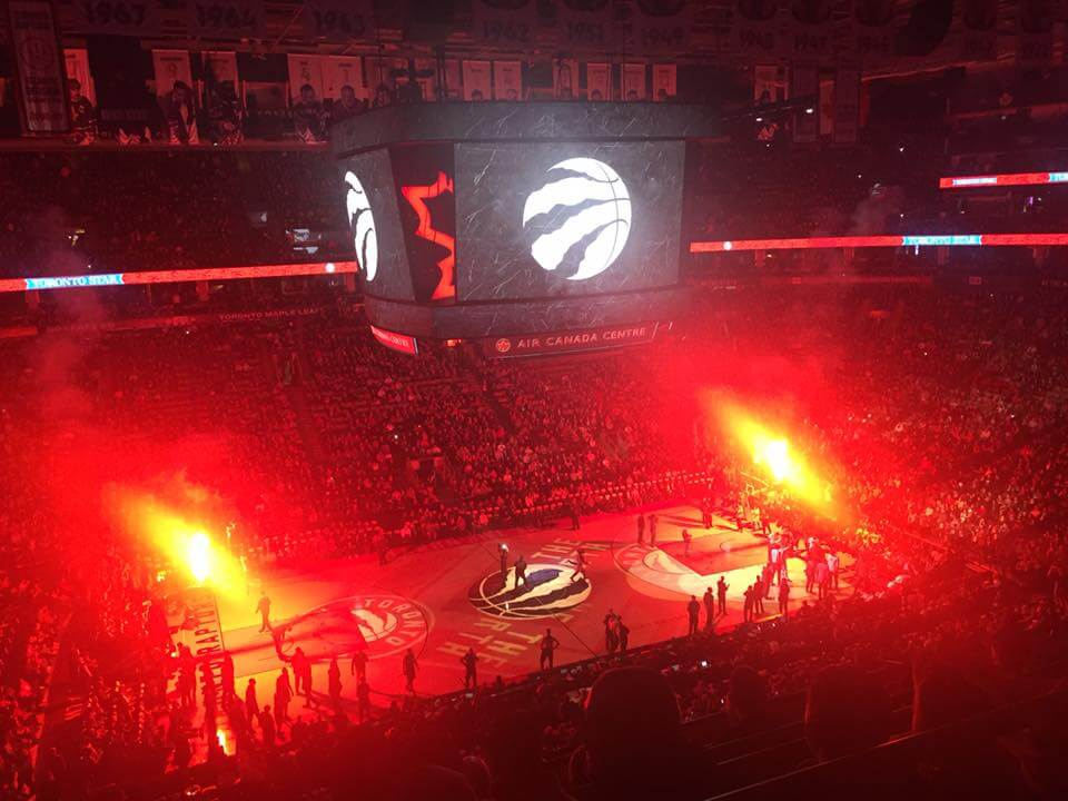 basketball arena in red light