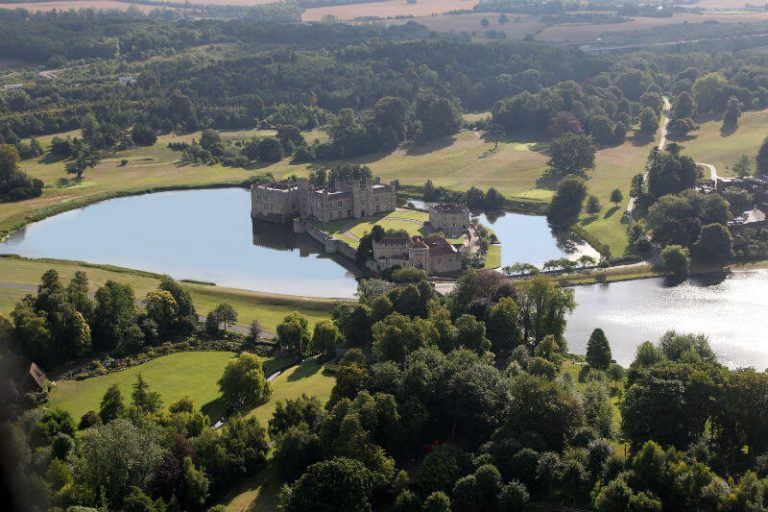aerial shot of Leeds Castle one of castles in kent