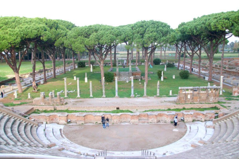 ruins of Roman amphitheater in Ostia Antica