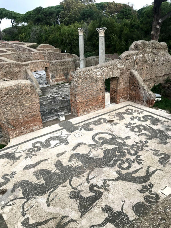 detailed black and white mosaic at Ostia Antica baths
