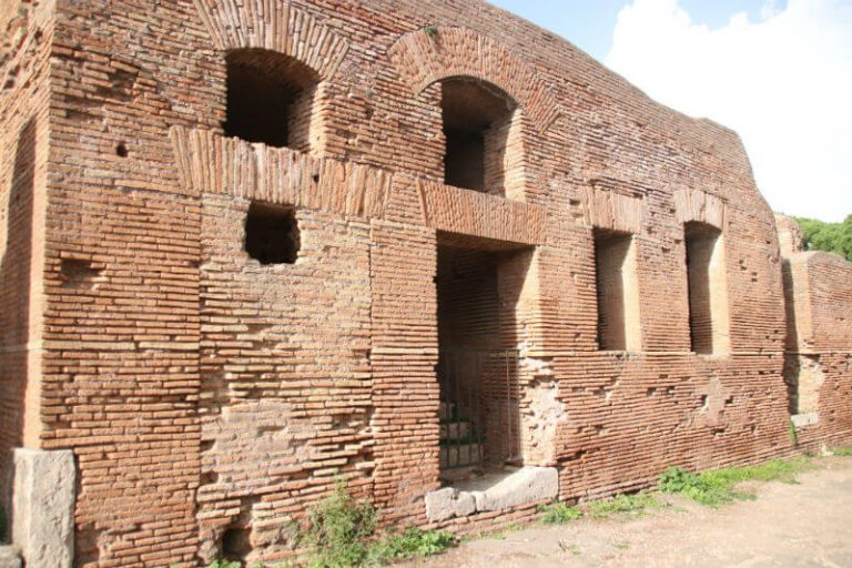 brick building facade at Ostia Antica