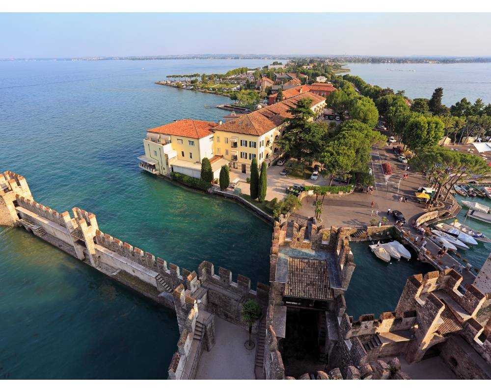 aerial view of sirmione of our fave Italian coastal towns