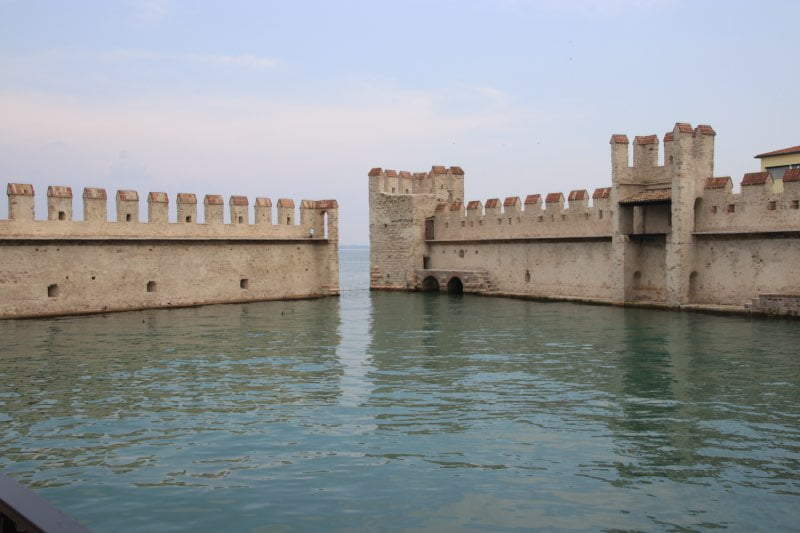 fortification walls coming our of the water