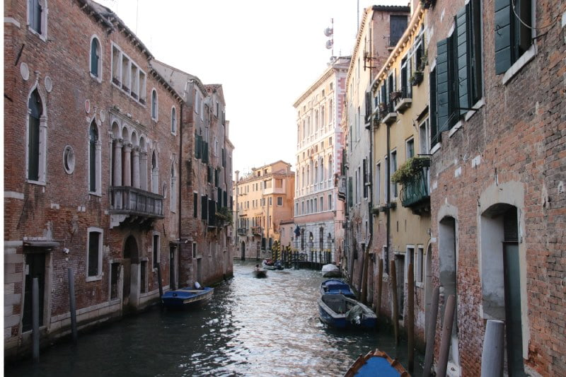 canal view in Venice with buildings on both sides