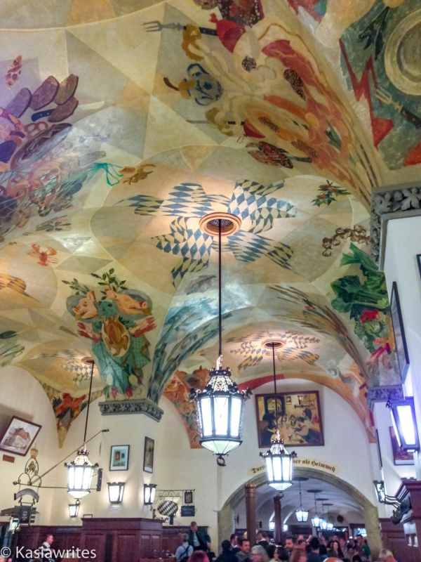 painted ceiling inside Munich Hofbräuhaus beer hall