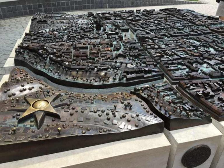 a scaled model of Zagreb in metal