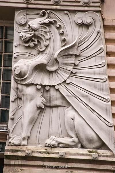mythical dragon like animal relief