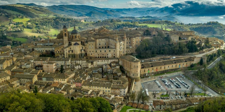 aerial views of Urbino castle