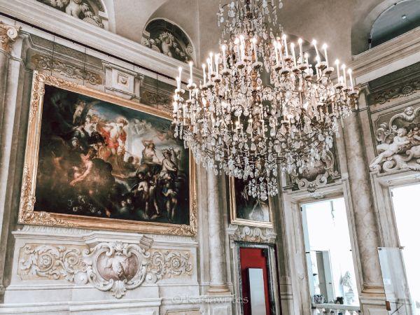 opulent chandelier in a palazzo in Genoa