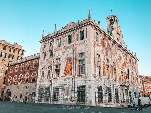 building in Genoa with painted details