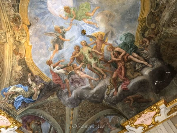 painted ceiling depicting mythical story