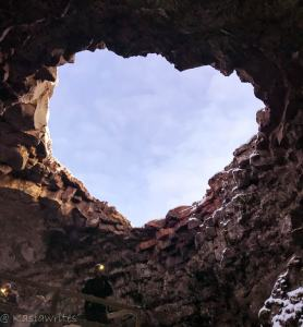 heart shaped entrance to lava cave