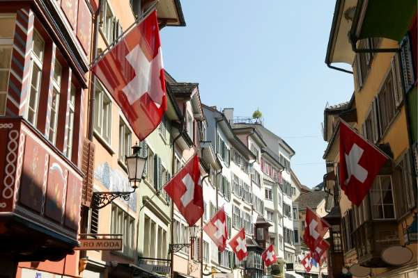 Swiss flags lining buildings