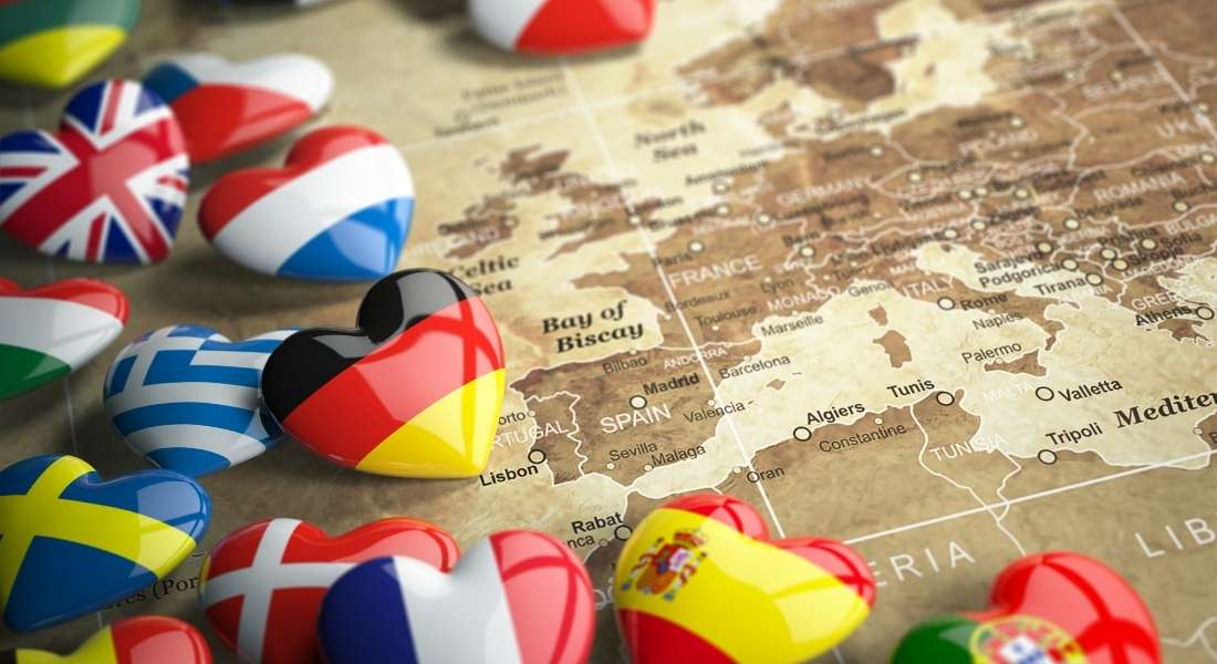 EU travel map with hearts shaped like flags