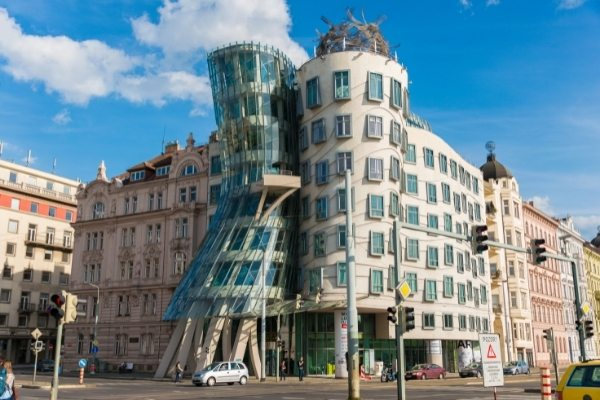 the exterior of the Dancing House in prague