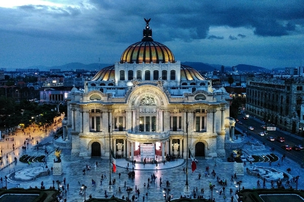 church in Mexico City at night