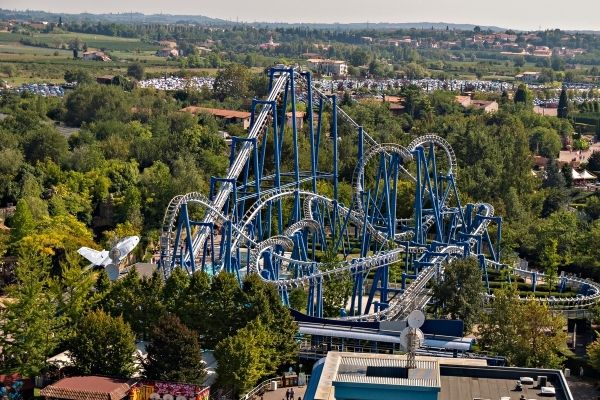 Aerial view of a blue rollercoaster